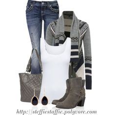 A fashion look from September 2013 featuring aztec print cardigan, scoop neck tank and back pocket jeans. Browse and shop related looks. Womens Fashion For Work, Love Fashion, Pretty Outfits, Cute Outfits, Aztec Cardigan, Autumn Winter Fashion, Winter Style, Living At Home, Colorful Fashion