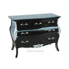 bordeaux bombay 5 drawer chest black u0026 silver
