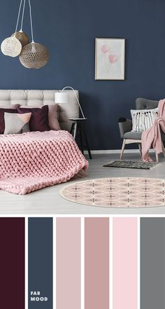 Beautiful bedroom color scheme : Purple + pink + Navy blue Bedroom color scheme ideas will help you to add harmonious shades to your home which give variety and feelings of calm. From beautiful wall colors. calm its your wedding day Blue Bedroom Colors, Navy Blue Bedrooms, Blue And Pink Bedroom, Calming Bedroom Colors, Room Color Ideas Bedroom, Pink Bedroom Walls, Blush Bedroom, Living Room Ideas Purple And Grey, Bedroom Ideas Purple