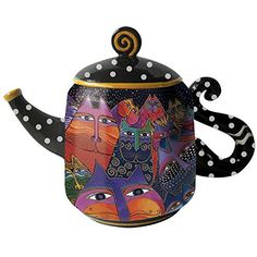 Westland Giftware Ceramic Teapot Fantasticats 48 oz. Multicolor