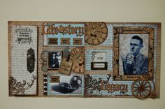 """Male Heritage""double page scrapbook layout by Jamie Penson.  jamieshappyscrapping@blogspot.com"