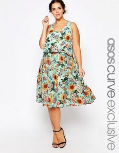 ASOS CURVE Midi Dress With Open Back In Sunflower Print - Shop for women's Dress - multi