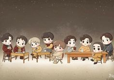Kpop Exo, Exo Kokobop, Chanyeol, Kyungsoo, Exo Anime, Anime Chibi, Exo Sing For You, Exo Cartoon, Exo Stickers