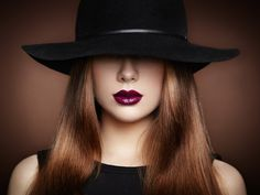 Fashion photo of young magnificent woman in hat. Girl posing - Fashion photo of young magnificent woman in hat. Girl posing. Studio photo.  Perfect Makeup