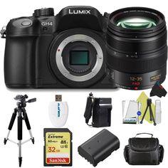 "Panasonic Lumix DMC-GH4 Mirrorless Micro Four Thirds Digital Camera (Body) + Panasonic Lumix G X Vario 12-35mm f/2.8 Asph Lens + Pixi-Basic Accessories Bundle. This Kit Includes: Panasonic Lumix DMC-GH4 Mirrorless Micro Four Thirds Digital Camera (Body) + Panasonic Lumix G X Vario 12-35mm f/2.8 Asph Lens. 50"" Full Size Fluid Head Tripod. SanDisk Extreme 32GB UHS-I/U3 SDHC Memory Card + I3ePro Card Reader. DMW-BLF19 Battery + Battery Charger. Soft Padded Carry Case + Cleaning Starter Kit +..."