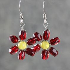 Drop earrings flower dangle handmade. via Etsy.