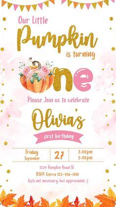 First Birthday Invitation Cards, 1st Birthday Invitations Girl, Cute Birthday Wishes, Free Birthday Invitation Templates, Pumpkin 1st Birthdays, Birthday Video, Diy, Gold Girl, Confetti