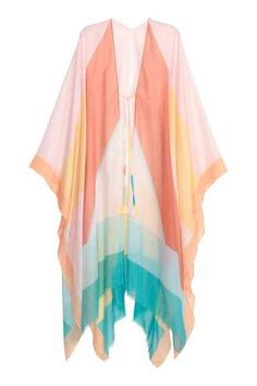 Kaftan in an airy, patterned weave with ties at the front and sides, and a fringed hem. Width 135 cm, length of back approx. Kaftan Tops, Red Tunic, Top Pattern, Tunic Pattern, Clothing Items, Fashion Online, Beachwear, Swimwear, Pink Ladies