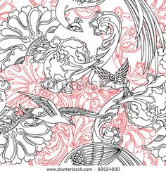 Elegance Seamless pattern flowers, vector ornament illustration in vintage style by POLINA 21, via ShutterStock