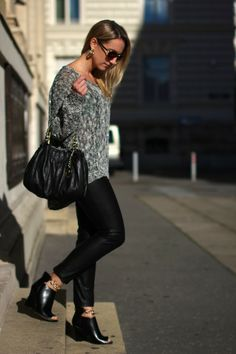 pants - Hallhuber / sweater, shoes - Forever21 / bag - Michael Kors / sunglasses - Asos Forever21, Knits, Leather Pants, Asos, Sporty, Strong, Michael Kors, Sweater, Sunglasses