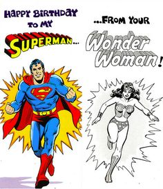 Old #DCComics #Superman #Wonderwoman birthday card