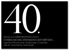 Sleek Sophistication - Party Invitations by Invitation Consultants. 40th Birthday Quotes, Birthday Gag Gifts, 40th Birthday Invitations, 40th Birthday Parties, Happy Birthday Images, Man Birthday, Birthday Photos, Birthday Greetings, Birthday Wishes