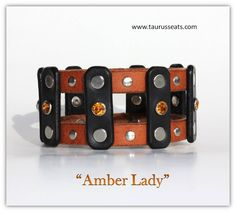 Statement Womens Wristband with Amber Crystals | Leather Wrap Bracelet | Biker Gal Leather Cuff Bracelet | Black and Brown Leather Accessory by TaurusSeats on Etsy