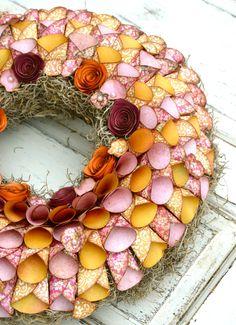 Paper flower wreath, orange, pink, gold, spring, summer