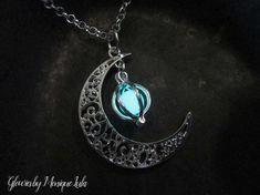 Crescent Moon Glow Locket Orb Magic Necklace Glowing Galaxy