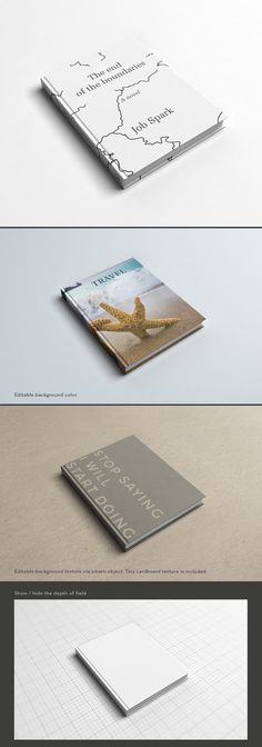Here a free photorealistic mock up to showcase your book cover design. This PSD file has a high resolution (300 DPI). You can change the background texture via smart object. The cardboard texture is included.