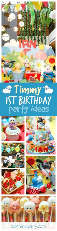 thetruhappiness's Birthday / Sheep / Lambs - Timmy, It's Timmy at Catch My Party Boys 1st Birthday Party Ideas, 1st Boy Birthday, Birthday Party Decorations, Party Themes, Birthday Cake, Theme Parties, Theme Ideas, Timmy Time, Animal Birthday