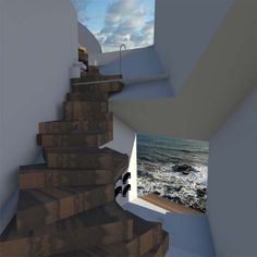 Stairs leading to the ocean- really cool architecture!