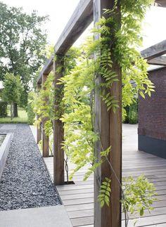 Exclusieve houten pergola in strakke moderne tuin. Precies zoals onze tuin!