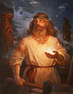 Svarog,Swaróg Swarożyc (in the Slavic mythology - the god of fire, blacksmithing, hearth. Heavenly smith and a great warrior. Russian Folk, Russian Art, Russian Painting, Fantasy Illustration, Medieval Fantasy, Gods And Goddesses, Wicca, Character Art, Folk Art