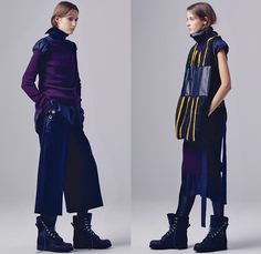 Sacai by Chitose Abe 2016 Pre Fall Autumn Womens Lookbook Presentation - Hybrid Garment Panels Frayed Denim Jeans Lace Turtleneck Velvet Leggings Skirt Frock Tunic Belts Strips Shirtdress Oversized Trench Coat Parka Bomber Quilted Down Jacket Furry Weave Knit Sweater Suede Shearling Moto Biker Leather Peacoat Accordion Pleats Studs Cloak Grommet Grosgrain Wide Leg Trousers Culottes Flare Bell Bottom Flowers Floral Vest Platform Sandals