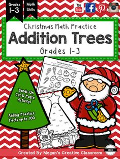 Christmas Addition TreesBuild Numeracy and add some Holiday Fun!!!Download the preview to see the quality and fun this packet will bring to your classroom!This packet includes:     12 different addition trees!     Addition Doubles     Addition Facts up to 12x12     Cute cut and match format engages students     Black and White so students can colour their finished creations!*Mount on coloured paper and hang up in the hallway!Im trying to add new items regularly, so check me out often or…