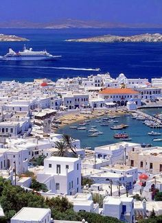 Mykonos, Greece  On my bucket list. The most beautiful blue!