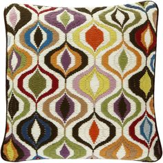 Jonathan Adler Bargello Multi Waves Pillow - 41x41cm (680 PLN) ❤ liked on Polyvore featuring home, home decor, throw pillows, pillows, multi, jonathan adler, handmade home decor, jonathan adler home decor and jonathan adler throw pillows