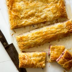 A recipe for Ham and Cheese Slab Pie .