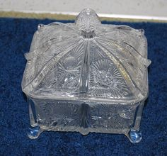Antique EAPG PANELED THISTLE glass - covered honey dish  $8.99 s/h $17