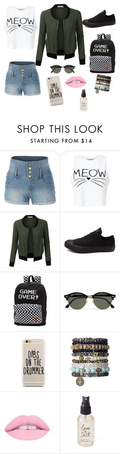 """Good school"" by biancagramaje on Polyvore featuring LE3NO, Miss Selfridge, Converse, Vans, Ray-Ban and Olivine"