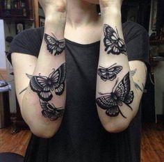 Tattoo black butterflies forearm  - http://tattootodesign.com/tattoo-black-butterflies-forearm/  |  #Tattoo, #Tattooed, #Tattoos