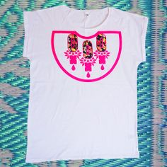 neon pink print on a comfy white T. by dAKOTA rAE dUST. White T, Neon, Comfy, V Neck, Pink, How To Wear, Beauty, Tops, Fashion