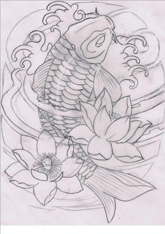 Koi Tattoo Design, Japan Tattoo Design, Tattoo Design Drawings, Tattoo Sleeve Designs, Tattoo Sketches, Sleeve Tattoos, Japanese Koi Fish Tattoo, Koi Fish Drawing, Japanese Tattoo Designs