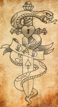 Serpents wrapping Dagger tattoo