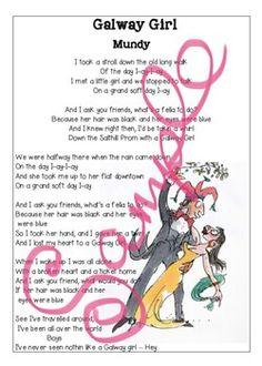 Illustrated printable lyric sheets for Mundy & Sharon Shannon's 'Galway Girl'. Galway Girl, Teacher Newsletter, Poems, Lyrics, Printables, Teaching, Poetry, Print Templates, Song Lyrics