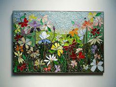 ARTE de la pared de mosaico vidrieras decoración floral jardín