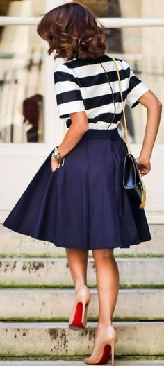 Striped Top + Navy Midi Skirt                                                                             Source