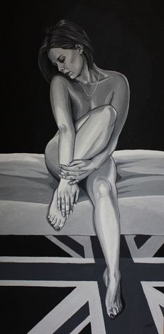 'Innocence' Acrylic on timber panel. 600mm x 300mm. Painted in shades of grey.