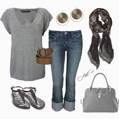 Casual Outfits | Everyday Casual French Connection top, Ruby Crops jeans, Sam Edelman sandals, MARC JACOBS bag, A. Mcqueen scarf, Ralph Lauren belt by jill-hammel