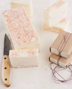 Simple Melt and Pour Lavender Soap How-To - This one is decorated in pink Himalayan salt. You do want to resist the urge to add lavender buds to your melt and pour soaps as it will eventually turn the entire bar of soap brown.