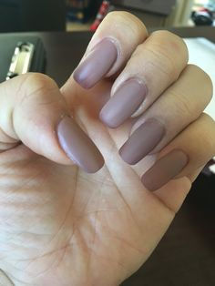Matte nude nails (squoval) shape