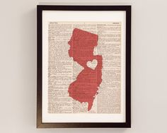 New Jersey Dictionary Print - New Jersey Art - Print on Vintage Dictionary Paper - Choose Your Color - Trenton, Newark, Jersey City, NYC