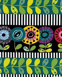 from the 'Flower Doodle' collection by Kim Schaefer for Andover Fabrics.