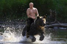 Fake? Yes (you were not asking seriously, were you?) When: August 3, 2009  Hoax: The original photo showed Vladimir Putin riding a horse during his vacation outside the town of Kyzyl in Southern Siberia.