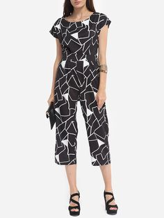 Color Block Geometric Loose Fitting Dramatic Jumpsuits
