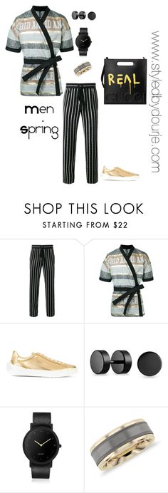 """""""Untitled #186"""" by aaron-dourje-washington on Polyvore featuring Haider Ackermann, Astrid Andersen, Versace, Bling Jewelry, South Lane, Blue Nile, Gucci, men's fashion and menswear"""