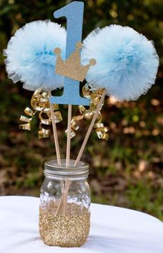 Prince Birthday Party Blue and Gold Baby Boy Centerpiece Tab .- Prinz Geburtstagsparty Blau und Gold Baby Boy Herzstück Tab … Prince Birthday Party Blue and Gold Baby Boy Centerpiece Tab … - Baby Boy Centerpieces, First Birthday Centerpieces, Birthday Table Decorations, Centerpiece Table, Baby Boy Birthday Decoration, Gold Centerpieces, Shower Centerpieces, Baby Boy 1st Birthday Party, Prince Birthday Party