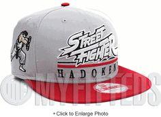 Street Fighter Ryu Hadoken! Hero Underline Placid Grey Scarlet White New Era Snapback
