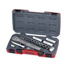 34 piece drive socket set containing 6 point regular and deep metric sockets FRP (Fiber Reinforced) ratchet handle, 5 and 10 inch extension bars, universal joint, adaptor Regular socket sizes: Deep Socket Sizes: 19 Metric Socket Set, Tool Board, Engineering Tools, Universal Joint, Thing 1, Tool Shop, Hex Key, Ratchet, Tool Storage